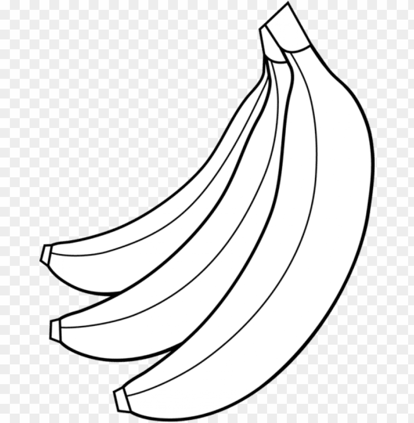 Fruit Clipart Banana Bunch Banana Black And White Png Image With Transparent Background Toppng