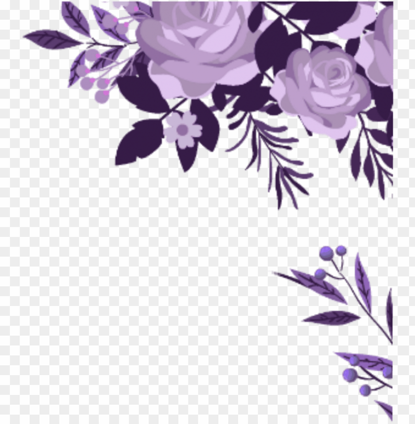 free PNG ftestickers watercolor flowers border corner purple - watercolor flowers border png - Free PNG Images PNG images transparent
