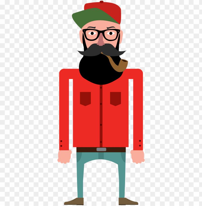 free PNG fur vector lumberjack - vector illustration hipster flat PNG image with transparent background PNG images transparent