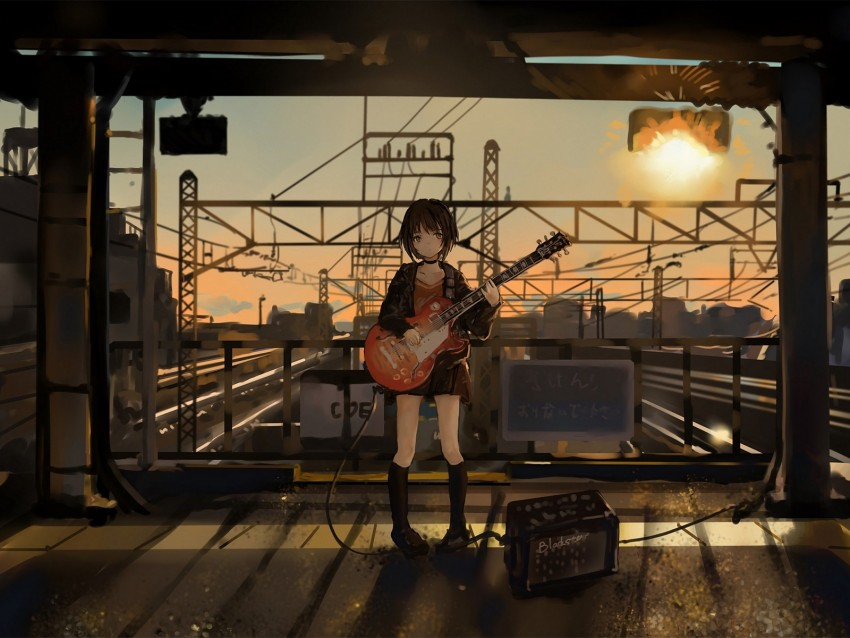 Girl Guitar Anime Musician Electric Guitar Art Background Toppng