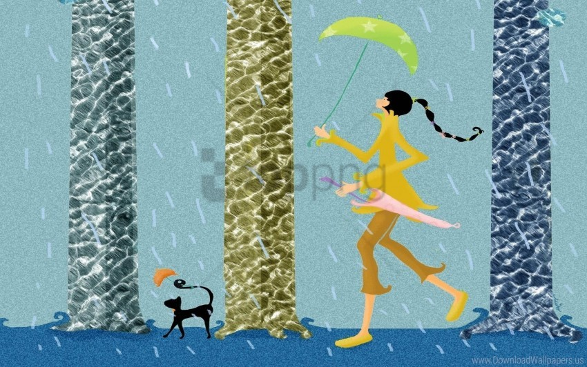 free PNG girl, pet, rain, umbrella, walk wallpaper background best stock photos PNG images transparent