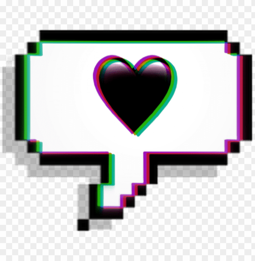 Glitch Message Heart Black Blackheart Love Cool Aesthetic Tumblr Sticker Png Image With Transparent Background Toppng