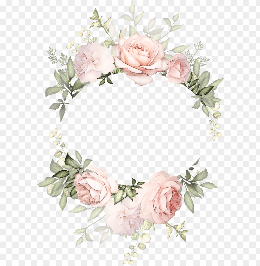 H746a Flower Frame Arte Floral Arusha Watercolor Vintage