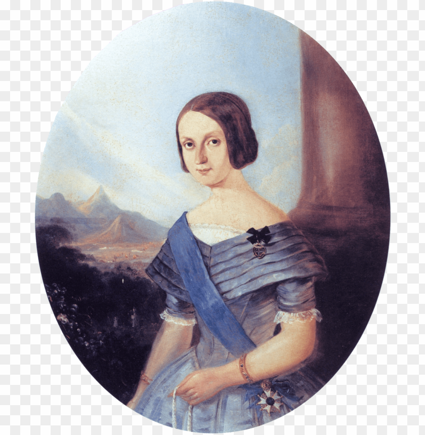 free PNG half-length painted portrait of a smiling young woman - teresa cristina of the two sicilies PNG image with transparent background PNG images transparent