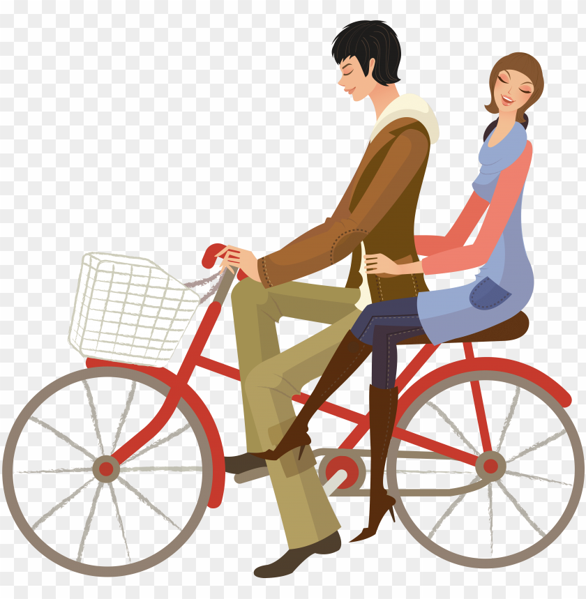 free PNG hand drawn cartoon couple cycling decoration vector - lovers in bike vector PNG image with transparent background PNG images transparent