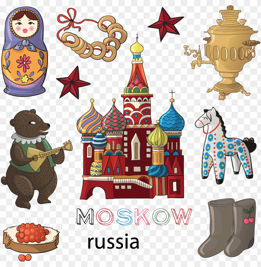 free PNG Download hand drawn cartoon style Russia png images background PNG images transparent