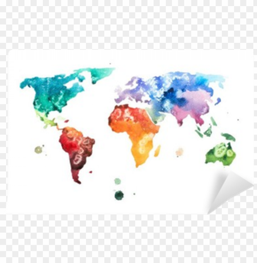 hand drawn watercolor world map aquarelle illustration - living space framed take me magnetic world ma PNG image with transparent background@toppng.com