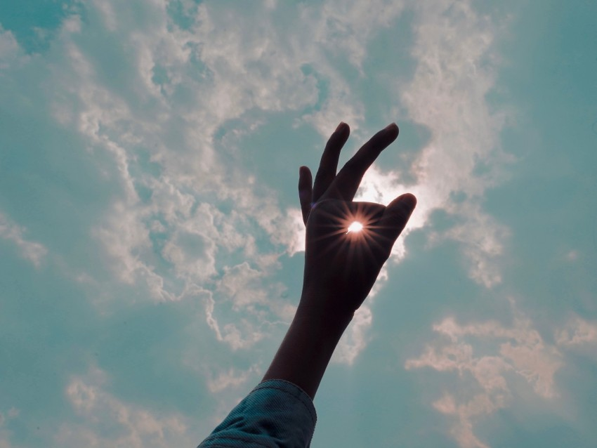 free PNG hand, fingers, sun, sun rays, sky, gesture background PNG images transparent