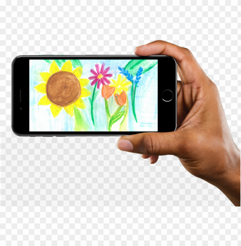 free PNG hand holding an iphone with drawn flowers on the screen - iphone 8 plus landscape PNG image with transparent background PNG images transparent