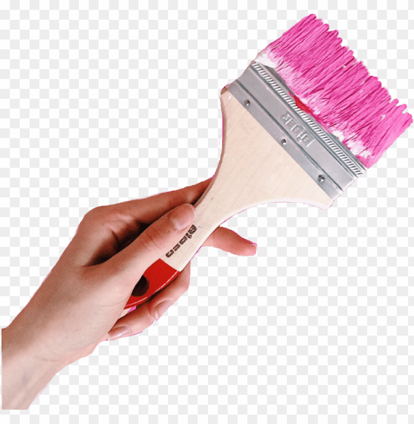 free PNG hand holding paint brush paintbrush painting pink free - pink paint brush PNG image with transparent background PNG images transparent