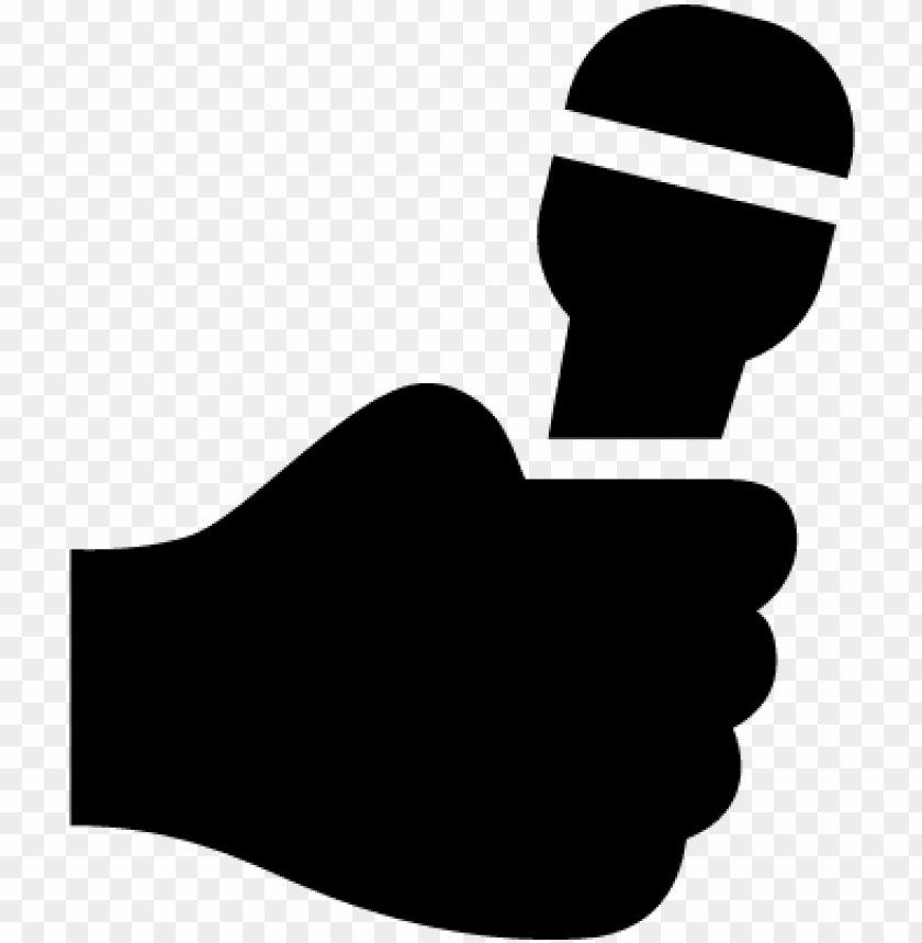 free PNG hand holding up a microphone vector - hand holding microphone silhouette PNG image with transparent background PNG images transparent