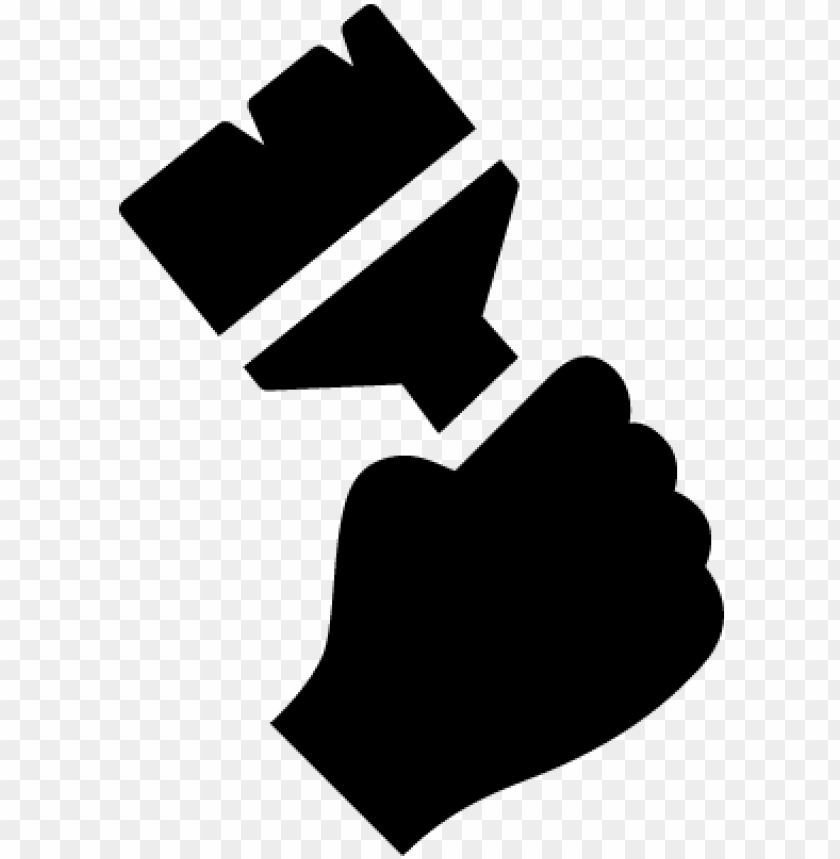 free PNG hand holding up a paintbrush vector - hand holding paintbrush vector PNG image with transparent background PNG images transparent