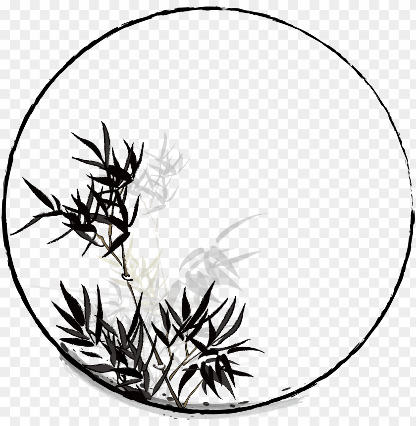 free PNG hand painted chinese style ink plant png and vector - circle PNG image with transparent background PNG images transparent