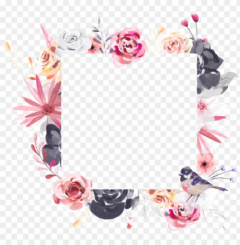 free PNG hand painted square flower frame png transparent - transparent square frame flowers PNG image with transparent background PNG images transparent