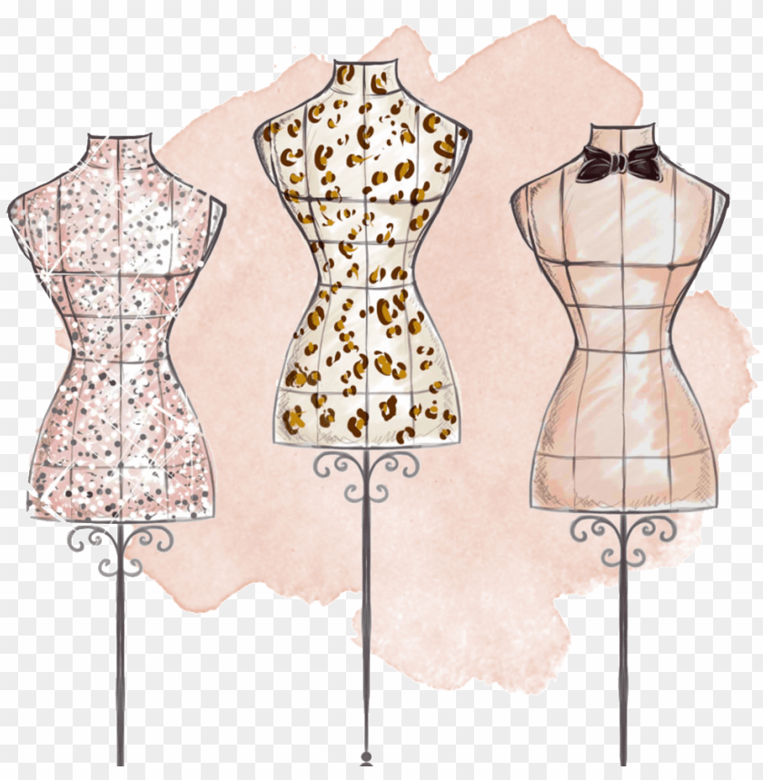 Hand Painted Three Tailored Dresses Png Transparent Fashion Design Mannequin Drawi Png Image With Transparent Background Toppng