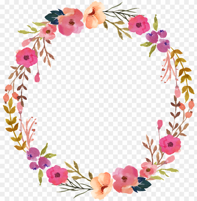 free PNG hand painted transparent ornamental - pink flower wreath PNG image with transparent background PNG images transparent