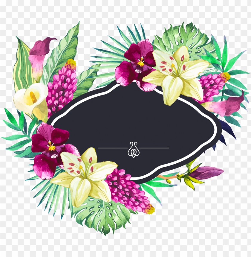 free PNG hand painted watercolor beautiful flower borders vector - flower borders PNG image with transparent background PNG images transparent