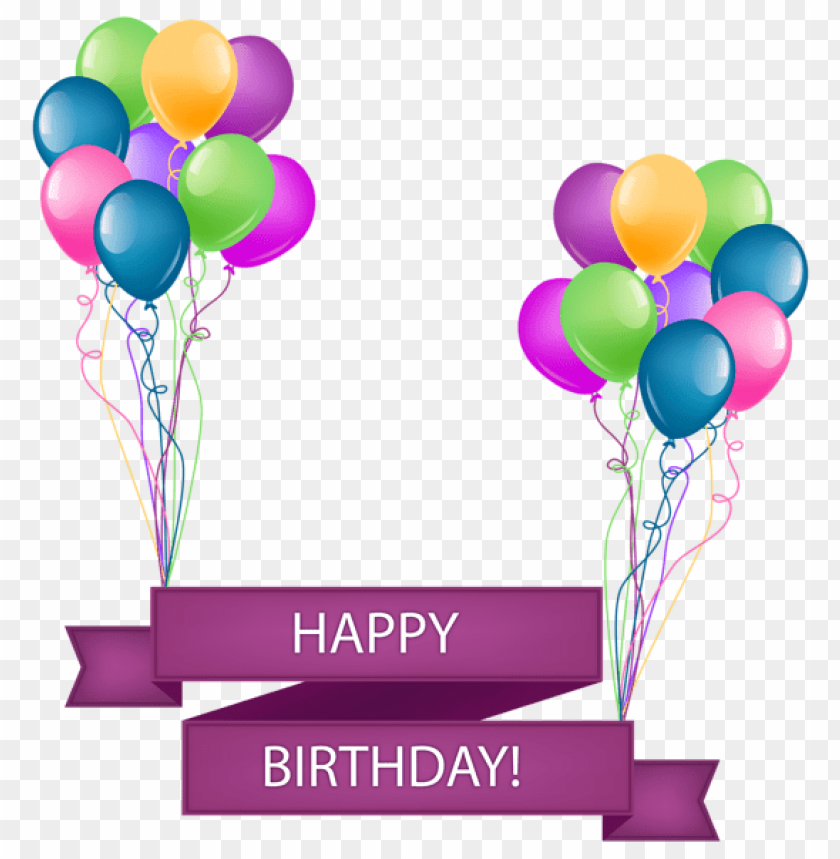 Download Happy Birthday Banner With Balloons Transparent Png Images Background Toppng