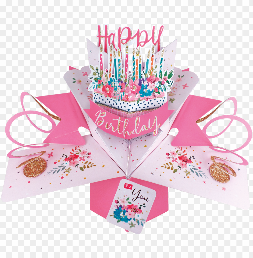 free PNG happy birthday cake and candles pop-up greeting card - greeting card PNG image with transparent background PNG images transparent