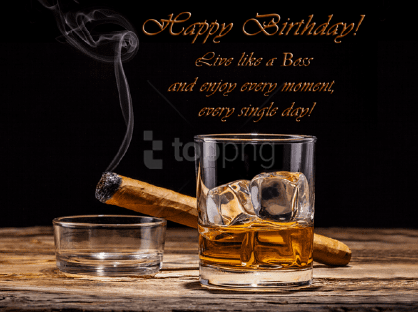 free PNG happy birthday card with whiskey and cigar background best stock photos PNG images transparent