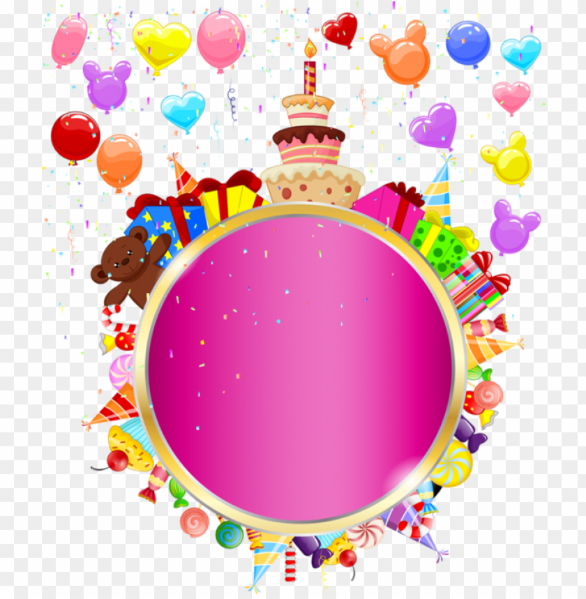 free PNG happy birthday clipart round - happy birthday round frame PNG image with transparent background PNG images transparent