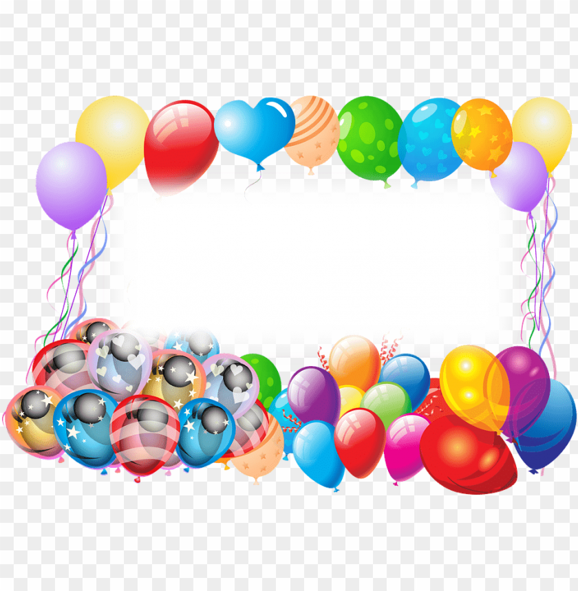 free PNG happy birthday frame with balloons - happy birthday frame PNG image with transparent background PNG images transparent