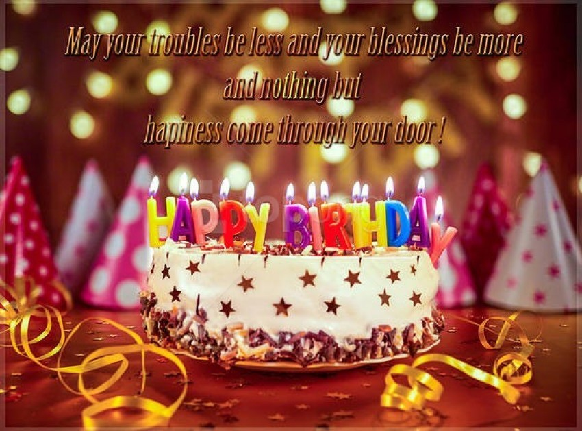 Swell Happy Birthday Greeting Card With Birthday Cake Background Best Personalised Birthday Cards Sponlily Jamesorg