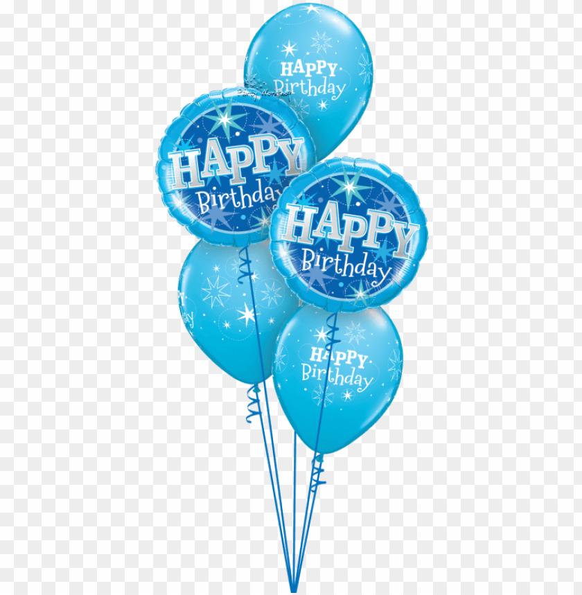 free PNG happy birthday pink / blue sparkle - blue sparkle happy birthday foil balloo PNG image with transparent background PNG images transparent