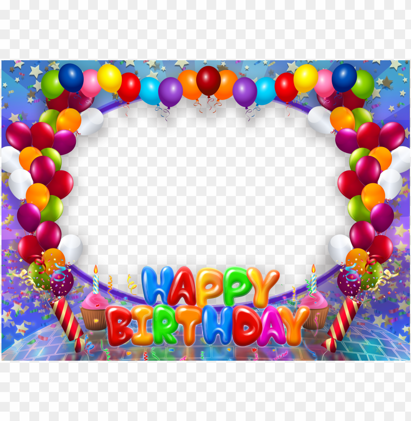 free PNG happy birthday transparent png frame with balloons - happy birthday photo frames PNG image with transparent background PNG images transparent