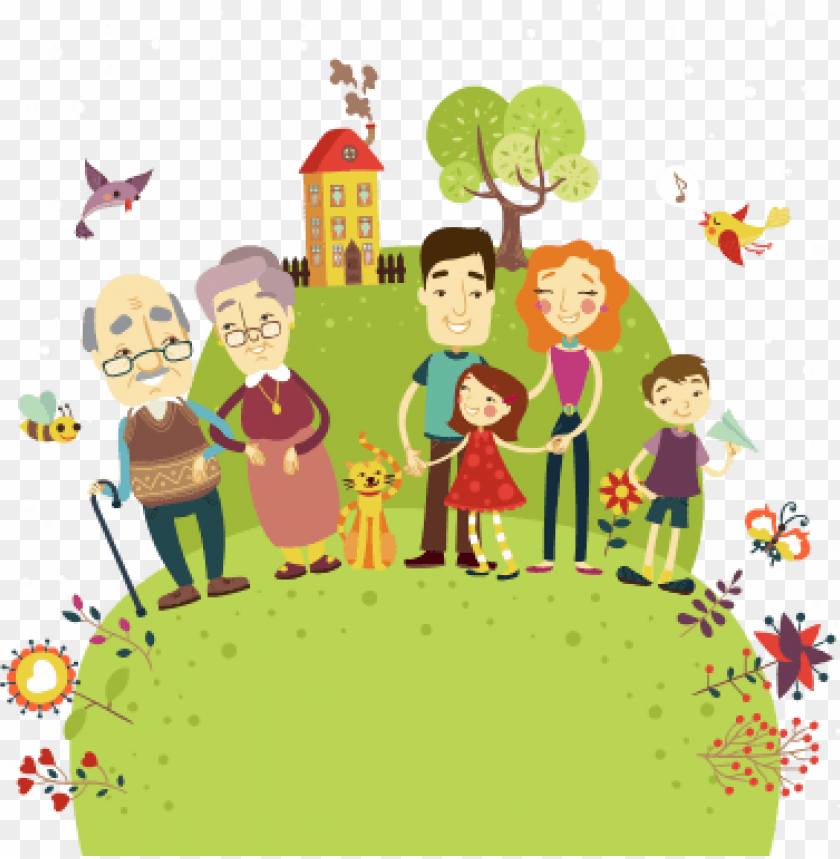 free PNG happy family house and animals free vector illustration - happy family png vector PNG image with transparent background PNG images transparent