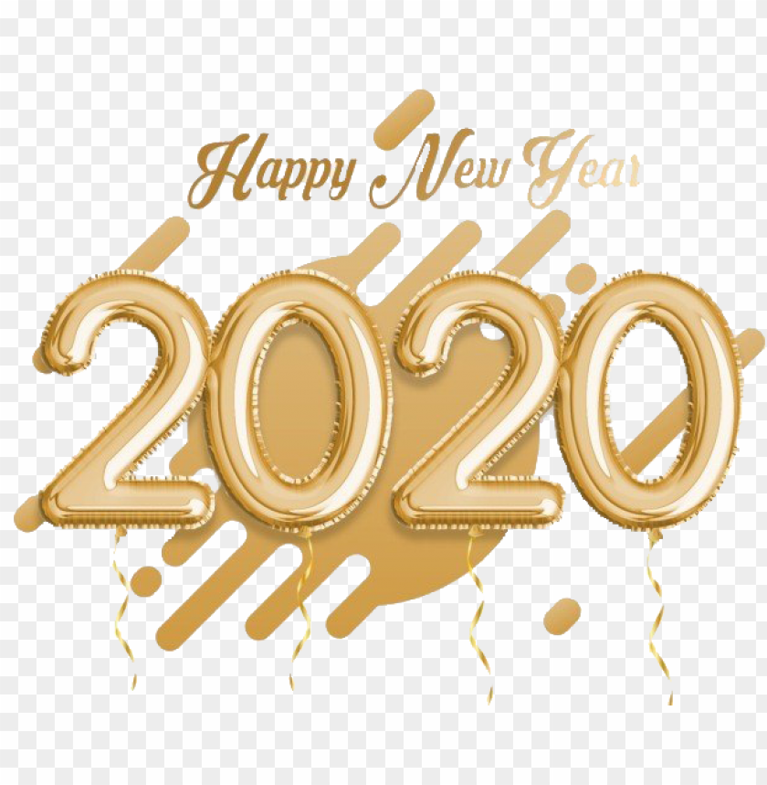 free PNG Happy New Year 2020 gold PNG PNG Images PNG images transparent