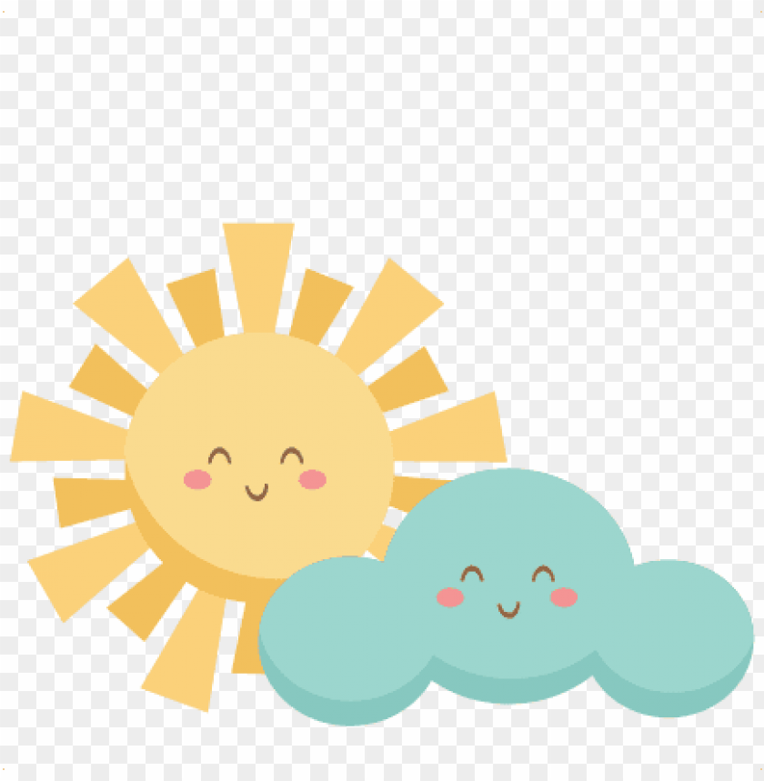 free PNG happy sun and cloud svg scrapbook cut file cute clipart - cute sun and clouds PNG image with transparent background PNG images transparent