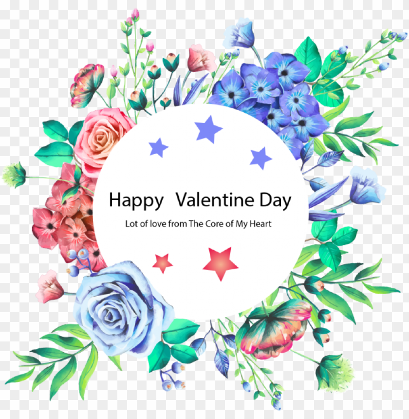 free PNG happy valentine day beautiful frame, water color flower, - wild flowers frame PNG image with transparent background PNG images transparent