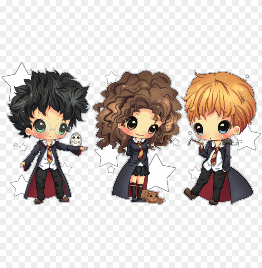 free PNG harry, rony e hermione - trio harry potter chibi PNG image with transparent background PNG images transparent