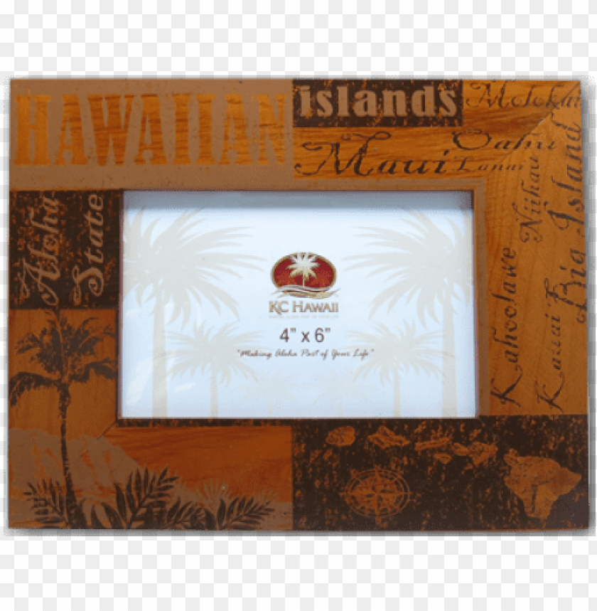 """free PNG hawaii wood frames 4"""" - hawaiian vintage look wood picture frame 4x6 PNG image with transparent background PNG images transparent"""
