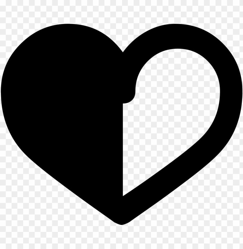free PNG heart half outline comments - half white half black heart PNG image with transparent background PNG images transparent