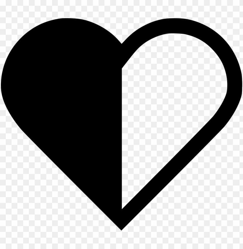 free PNG heart half svg png icon free download - half and half heart PNG image with transparent background PNG images transparent