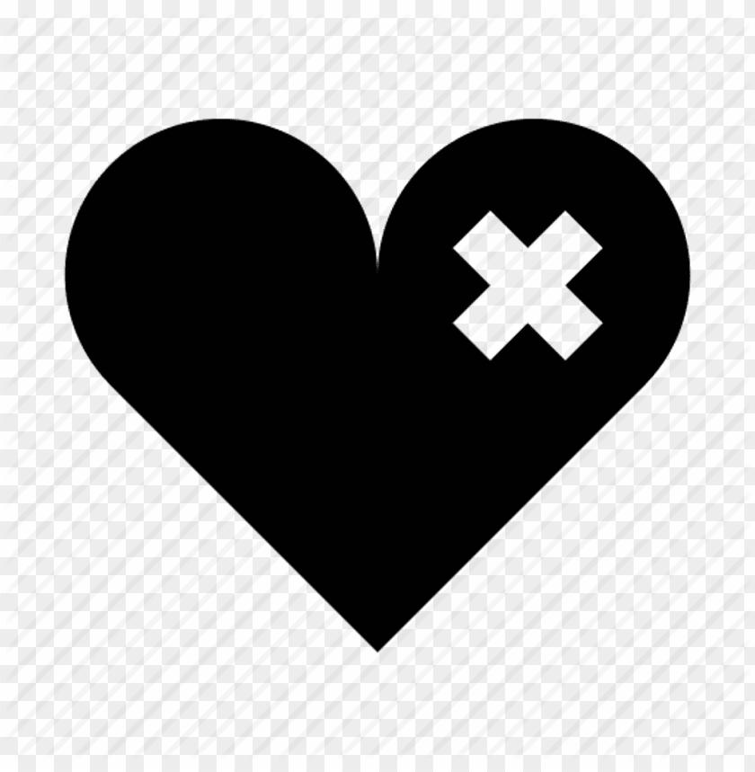 free PNG heart hurt bandage black dark sad x freetoedit - broken heart patche PNG image with transparent background PNG images transparent