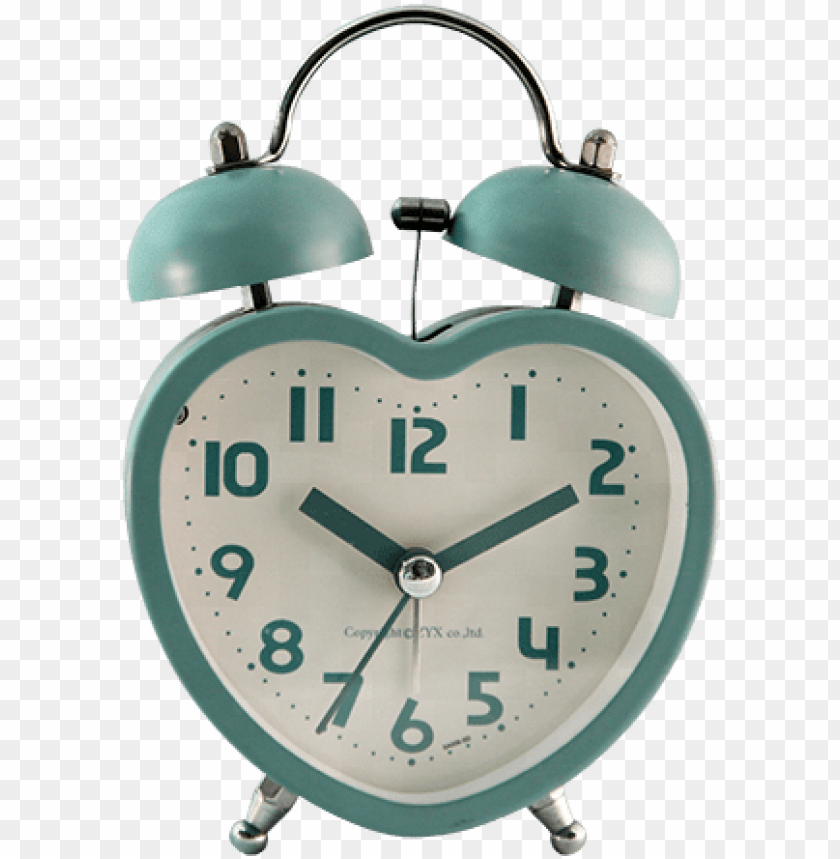 free PNG heart shaped metal twin bell alarm clock, wake up clock - alarm clock PNG image with transparent background PNG images transparent