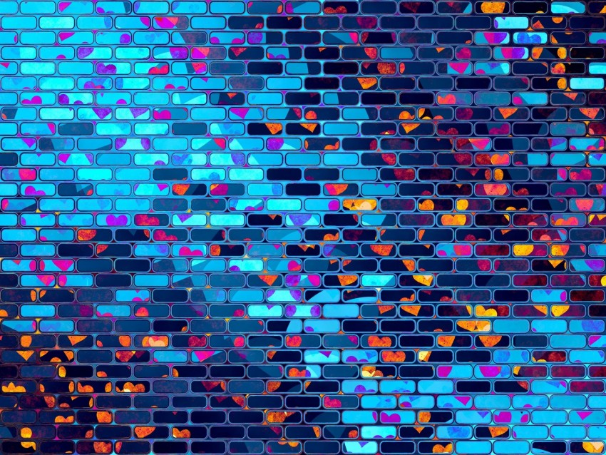 free PNG hearts, heart, brick, wall, colorful background PNG images transparent