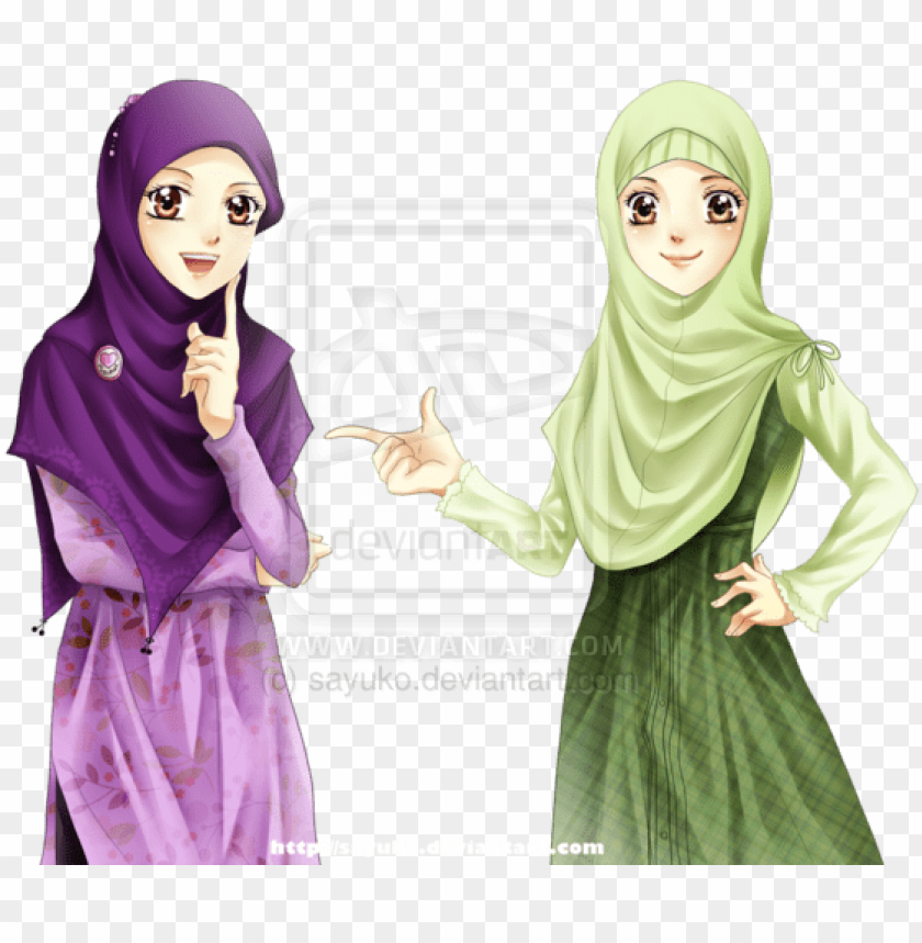 free PNG hijab girls by ~sayuko on deviantart muslimah anime, - two muslim girls cartoo PNG image with transparent background PNG images transparent