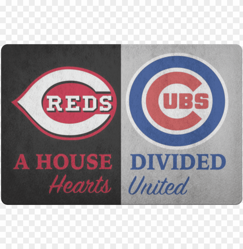 free PNG house divided man cave decor cubs cincinnati reds hearts - chicago cubs PNG image with transparent background PNG images transparent