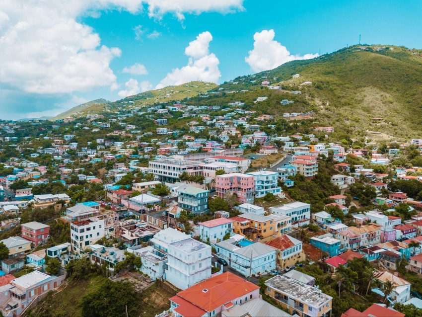 free PNG houses, hill, mountain, sky, charlotte amalie, usa, virgin islands background PNG images transparent