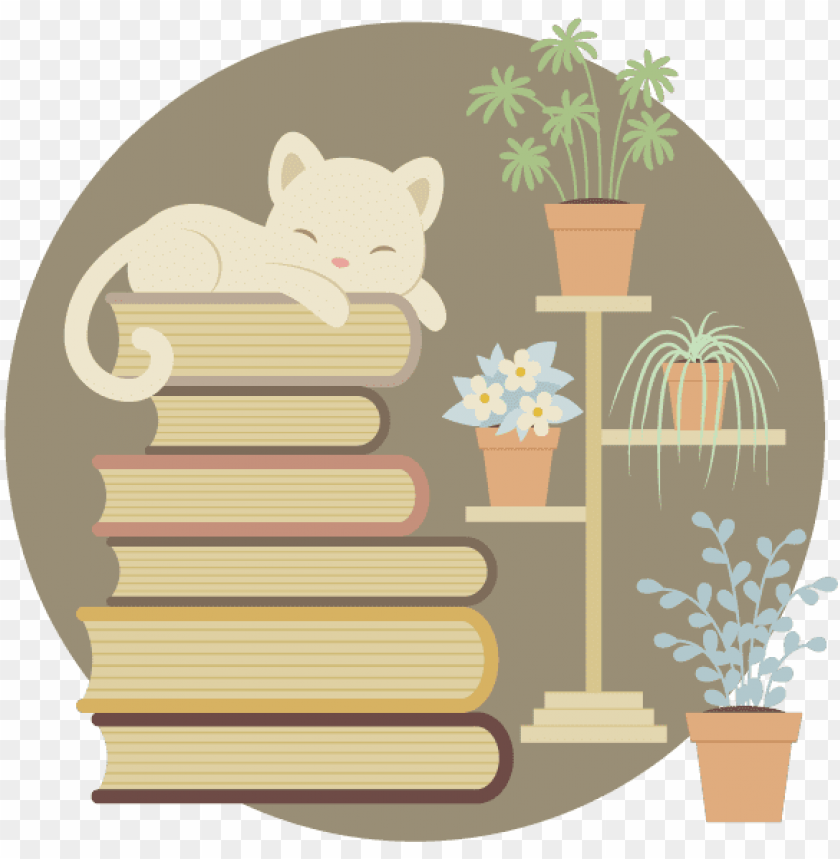 free PNG how to create a sleeping cat on a pile of books and - cat sleeping on books vector PNG image with transparent background PNG images transparent