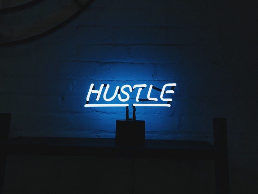 free PNG hustle, neon, inscription, letters, lights background PNG images transparent