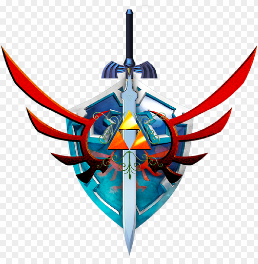 free PNG hylian shield & master sword - hylian shield and sword PNG image with transparent background PNG images transparent