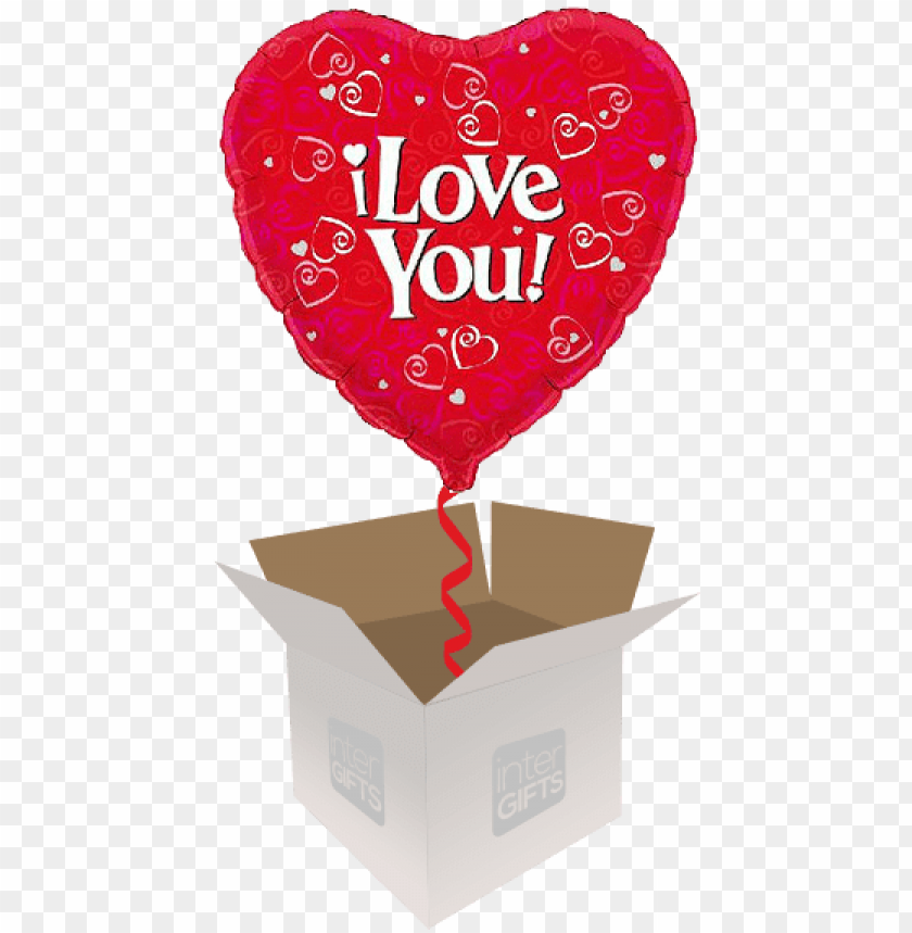 free PNG i love you with red hearts - love you 18 inch foil balloo PNG image with transparent background PNG images transparent