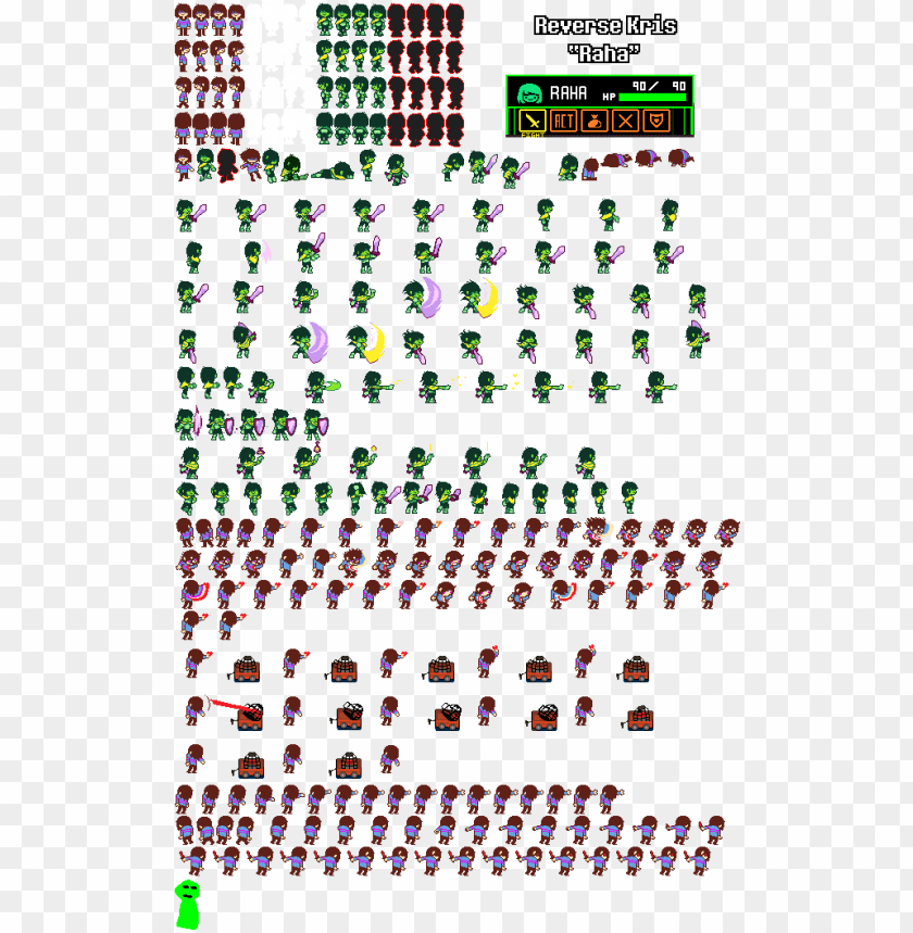 free PNG i made a sprite sheet for a reverse version of kris - kris sprite sheet deltarune PNG image with transparent background PNG images transparent