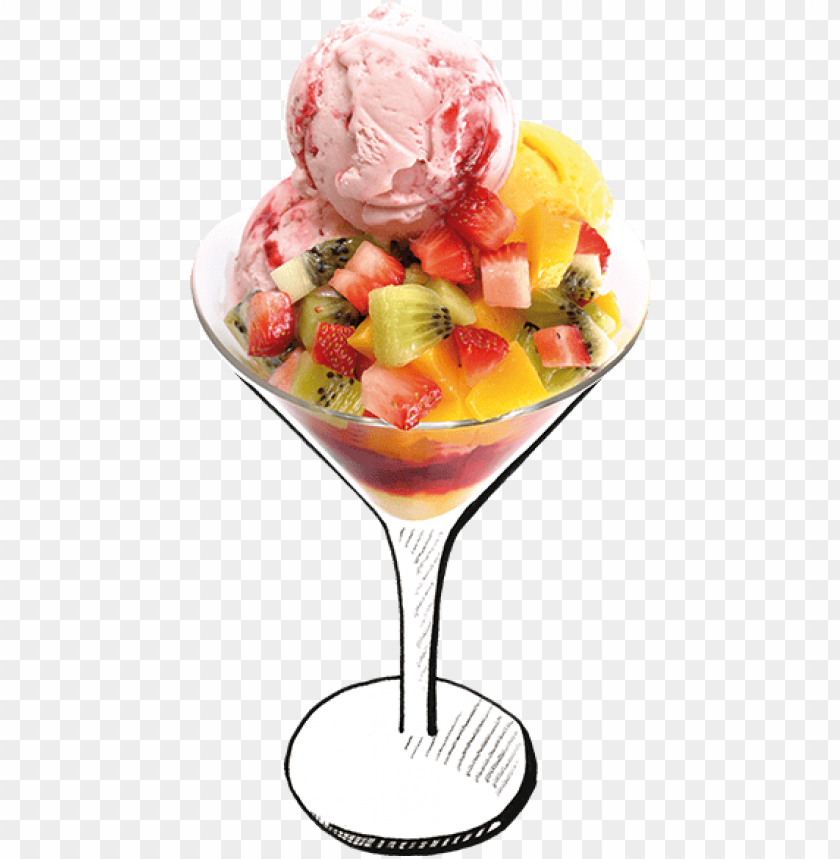 free PNG ice cream dessertsimage - fruit salad with ice cream PNG image with transparent background PNG images transparent