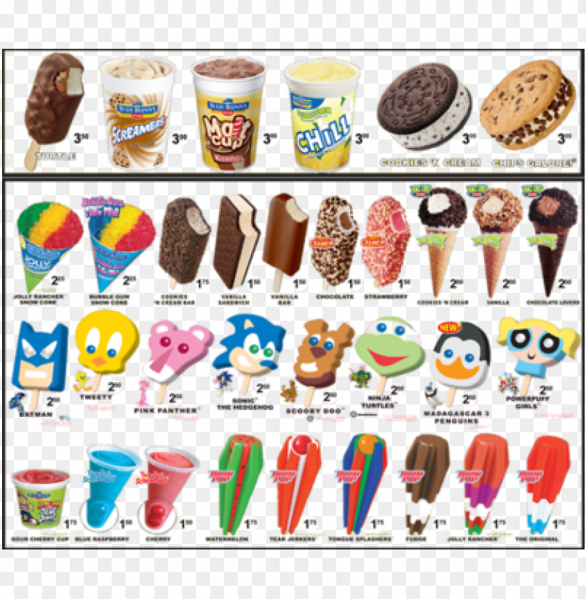 free PNG ice cream truck menu - ice cream truck treats PNG image with transparent background PNG images transparent